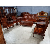 花梨木實木沙發桌椅十件組 一格二手家具 客廳實木家具 懷舊時尚