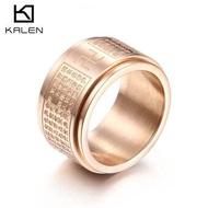 ใหม่คัมภีร์ศาสนาพุทธเหล็กไทเทเนียมแหวนศาสนาหฤทัยสูตรสองชั้นหมุนได้แหวนใช้ได้ทั้ผู้ชายผู้หญิง