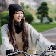 [現貨]帽子圍巾手套三件套女冬季防風保暖護耳秋冬騎車保暖電動車遮臉帽