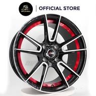 New Sport Rim ATOMIC ATM-521 15x7 4x100 ET35 Matt Black Machine Face + Red Undercut 15 inch 15 inci Mr Wheel