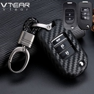 For  All Honda Car Key Cases Accord CRV HRV BRV Brio Amaze Civic Vezel FIT JAZZ Pilot Ridgeline HR-V Carbon fiber Silica gel key chain soft shell