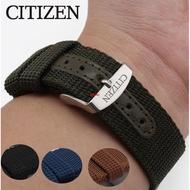 (大牌品質)CITIZEN西鐵城手表帶男光動能 手表配件藍天使20 22 23mm尼龍帆布T108