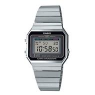 【金台鐘錶】CASIO 卡西歐 復古文青風 LED照明 電子 鋼帶錶 (銀) 超薄錶殼 A700W-1A