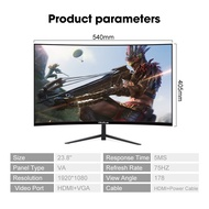▬㍿✐Viewplus 24 inch Curved Monitor 75HZ PC computer desktop Screen Schooling Homebase Work Gaming MH