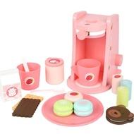 เด็กของเล่นครัวทำจากไม้ไม้เครื่องชงกาแฟเครื่องเครื่องผสมอาหารสำหรับKids Pretend Playการเรียนรู้ก่อนการศึกษาของเล่น