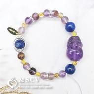  MSCV 紫水晶貔貅 x 紫幽靈 x 鈦晶 x 藍晶石 x 增強事業運 x 防小人 x 改變運勢 x 天然水晶手鍊