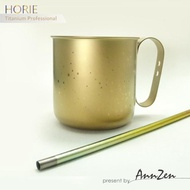 【AnnZen】《日本製 Horie》鈦愛地球組合-純鈦抗菌馬克杯-黃金星+純鈦抗菌吸管-禾穗黃(純鈦馬克杯+吸管組)