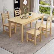 Solid Wood Dining Tables and Chairs Set Rectangular Restaurant Snack Table and Chair4People6Nordic Dining Table Set Small Square Table for Rental Room