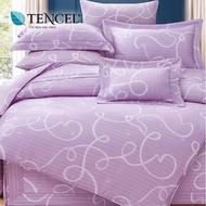 【貝兒居家寢飾生活館】60支100%天絲七件式兩用被床罩組 裸睡銀纖維系列 佩特拉(雙人)