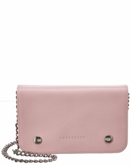 Longchamp Womens  Leather Wallet On Chain