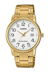 Casio Standard นาฬิกาข้อมือผู้ชาย สายสแตนเลส รุ่น MTP-V002G-7B2 (CMG) - สีทอง
