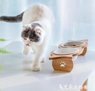 貓碗架貓碗狗碗貓糧食盆陶瓷雙碗斜口護頸不銹鋼防打翻木制寵物餐桌碗架  【限時特惠】