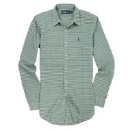 美國百分百【全新真品】Ralph Lauren 襯衫 RL 長袖 上衣 休閒 Polo 小馬 綠 薄 格紋 男 M號 E035