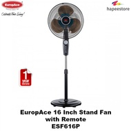 EuropAce 16 Inch Stand Fan with Remote - ESF616P (1 Year Warranty)