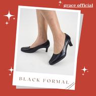 รองเท้าผู้หญิง รองเท้าส้นสูง 2.5 นิ้ว รองเท้าทางการ ราชการ รองเท้าคัชชู รองเท้ารับปริญญา รองเท้านักศึกษา ราคาโรงงาน แบรนด์ grace ดำทางการ