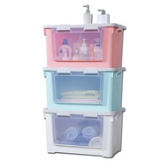 [特價]《真心良品》梅莉莎雙開式收納箱附輪70L-2入組 粉藍+粉色