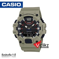 Casio แบตเตอรี่ 10 ปี นาฬิกาข้อมือผู้ชาย สองระบบเข็มดิจิตอล สายเรซิน กันน้ำลึก 100 เมตร รุ่น HDC700 - vclikz ของแท้ รับประกัน 1 ปี