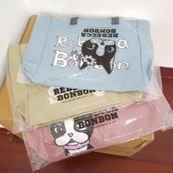 Rebecca bonbon日本狗頭包-帆布方形購物袋(剩粉跟藍)