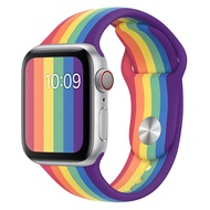 Suitable for apple watch5 strap Apple watch strap rainbow color iwatch4/3/2/1 generation sports anti-fall silicone 42mm38 men and women tide series4 wristband 40mm44