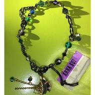Anna Sui全新限量正品藍綠水鑽圓珠杯子流蘇墜飾手鍊安娜蘇
