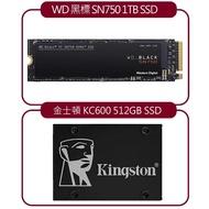 【SSD超值組】WD 黑標 SN750 1TB  NVMe SSD + 金士頓 KC600 SATA-3 512GB SSD 固態硬碟