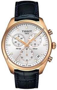 Tissot T1014173603100 Pr100 Mens Watch - Silver Dial, Leather Strap