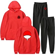 Anime Naruto Casual Hoodie Jogger Suits Unisex Animation Two Pieces Pants Clothing Sets