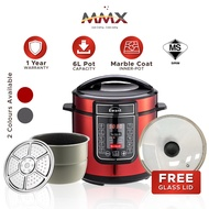 MMX Pressure Cooker Marble Pot Rice Cooker 15 in 1 with Rendang Function (6L) MMXYBD6-114SR/SB-MC+GL