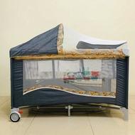 豪華遊戲床   多功能 嬰兒床 雙層床 可折疊  尿布台  蚊帳