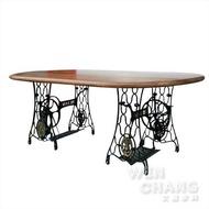 訂製品 LOFT 復古工業 裁縫車橢圓餐桌 CU017 *文昌家具*