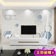 電視背景牆紙3d立體影視牆布現代簡約裝飾壁畫客廳臥室大氣8d壁紙 免運
