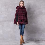 復古設計斗篷式連帽大衣~羊毛格紋款