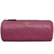 【COACH】專櫃款莓果粉皮革圓筒筆袋化妝包