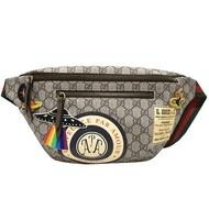 【GUCCI 古馳】529711 Courrier GG Supreme印花貼布綠紅綠織帶拉鍊腰包/斜背包(棕色)