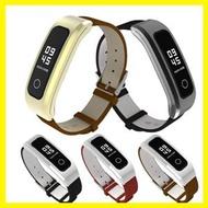 米布斯 適用華為榮耀手環4錶帶running版真皮替換帶金屬錶殼磁吸設計華 中秋節禮物