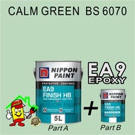 CALM GREEN  BS 6070- NIPPON EA9 EPOXY FINISH HB ( 5L ) / EPOXY FLOOR PAINT / HEAVY DUTY / PROTECTIVE COATING / EXTERIOR