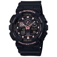 CASIO卡西歐 G-SHOCK 賽車運動雙顯手錶-玫瑰金x黑