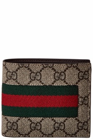Gucci Mens  Web Gg Supreme Canvas Coin Wallet