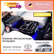 Toyota Estima / naza ria / Universal WITH LED Light BlueUsb Charger Arm Rest Console Box (Black) ACR30 ACR50 accessories
