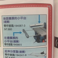 [曾旺]牧田MAKITa平台圓鋸機2704用擴展小平台194087-3