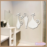 Mirror Stickers Three Cats Mirror Environmental Protection Wall Stickers Three-dimensional Mirror Stickers Mirror Stickers Background Wall Stickers