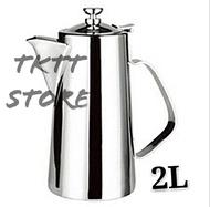 TKTT 2 Liter Stainless Steel Short Fine Mouth Tea Pot/ Coffee Pot/ Water Dispenser/ Beverage Server Pot/ Milk Pot/ Drink Jar/ Teko Kopi Tea/ Teko Serbaguna