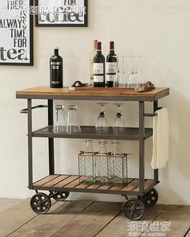美式鐵藝實木餐車時尚酒水手推車創意行動廚房架酒架精美餐邊櫃