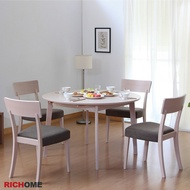 RICHOME   TA317   CH1019   安妮可延伸實木圓形餐桌椅組-3色   brunch 餐桌 餐桌椅