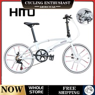 【In Stock】LM Hito X6 Folding Bicycle White 22 Inch Double Tube Ultra Light Portable Road Foldable Bike With Disc Brake Aluminum Alloy Free Installation(Customize 20 inch please leave message)