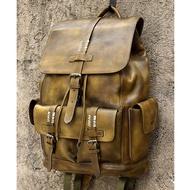 TOP COWหนังกระเป๋าเป้สะพายหลังสำหรับโรงเรียนเดินทางกระเป๋าเป้สะพายหลังชาย 15 'แล็ปท็อปขนาดใหญ...