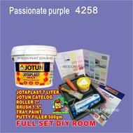 "passionate purple 4258  ( FULL SET / 7L JOTAPLAST EMULSION / 7"" ROLLER SET / 1.5"" BRUSH / 500GM PUTTY FILLER / TRAY PAIN"