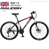 England Order (raleigh) Mountain Bike 24/27/30/33 Disc Brakes Shock Unisex Student Fitness Off-road Racing 27 Super High Carbon Steel Black Red Spoked Wheel 24-inch-CN