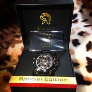 Caesar 德國凱撒手錶/CA-1010/真三眼不鏽鋼帶錶/霸氣黑/玫瑰金搭配/時尚潮流