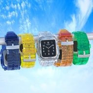 Transparent Strap bands for Apple Watch Band 40mm 44mm 42mm 38mm Sport Soft Silicone integrated belt case Bracelet wristbands accessories for i Watch series 5 4 3 6 SE